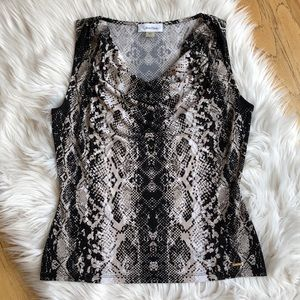 Calvin Klein Sleeveless Snake Print Blouse